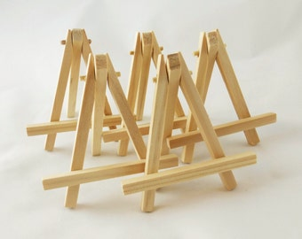 Small Wood Easels, 5 Natural Wood Tabletop Miniature Art Display Table Signs Place Cards