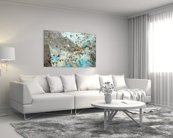 Oversize wall art on canvas - Turquoise and gray huge abstract photography print on canvas - Modern home decor