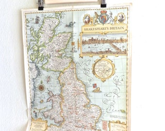 "Vintage Map . ""Shakespeare's Britain"" 1964 National Geographic. Wall Art. Theatre.London"