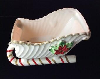 Napco Candy Cane Sleigh Christmas Sleigh X-6445