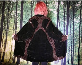 1970s Gothic Renaissance Witchy Beaded Brown Velvet Coat