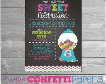 Candy Birthday Invitation, Candy Party, Chalkboard, Candy Invitation, Gumball Party, Gumball Invitation, Candyland, Blue, Printable, 5x7