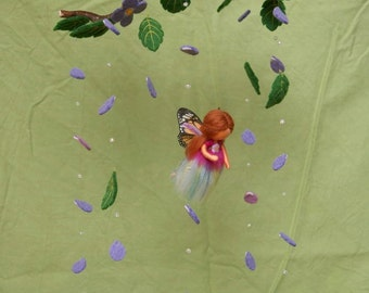 Flower fairy mobile with butterflies - felted, waldorf inspired, by Naturechild