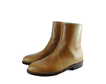 WHITMAN Tan Leather Side Zip Ankle Boots. (All Sizes)