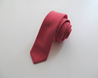 70s Corsini Red Necktie Slim Skinny Striped Tie