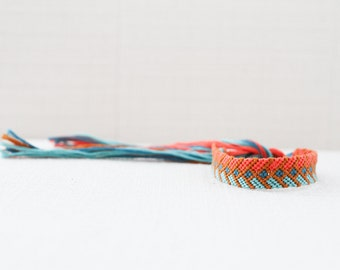Friendship Bracelet Woven Bracelet Tribal Chevron Mustard, Coral, Teal and Aqua Stocking Stuffer