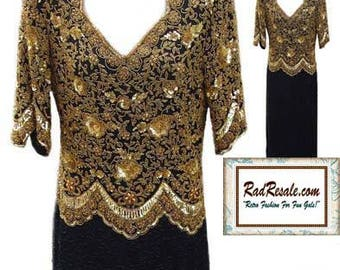 Gold and Black Beaded Evening Dress with 3/4 Sleeves - Fits Size Medium
