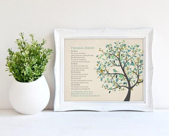 Baby gifts for dedication : Baptism gift baby dedication be kind poem