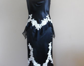 Vintage 1990s Redux 1930s Black Satin Two Piece Dress with Creme Lace Trim by Alberto Makali, New York. Size 14.