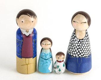 Baby Nursery Decor - Unique Nursery Decor - Modern Dollhouse Toys - Peg Dolls - Family Portrait - Baby Gift - Waldorf Toys - Montessori Toys