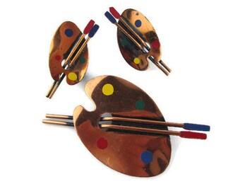 Copper Artist Pallet Earrings & Pin/ Oxidized Copper Enamel Brushes Earrings/ Painter's Pallet and Brushes Demi Parure/ Illustrator Jewelry