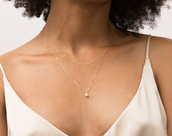 Pearl Drop Necklace, Gold, Silver, Dainty Small Pearl Thin Gold Chain 14k Gold Fill, Sterling Silver, Layering Necklace Layered + Long LN613