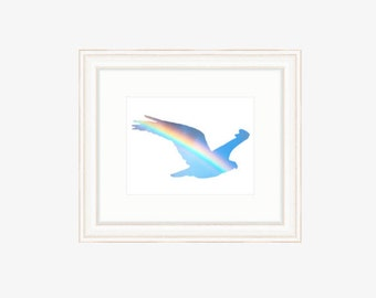 Bird prints Bird art print Rainbow bird silhouette Minimalist bird Rainbow silhouette art Rainbow Bird wall art Rainbow photo Bird wall art