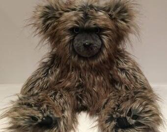 Faux Fur Teddy Bear, Fake Fur Teddy Bear, Handmade Teddy, Artist Bear, Plush Bear, Stuffed Bear, London, the Blue Grey Wolf Faux Fur Teddy