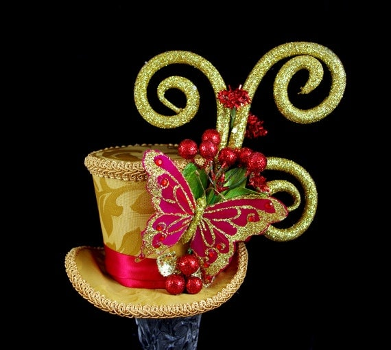 Red and Gold Butterfly Holiday Christmas Medium Mini Top Hat Fascinator, Alice in Wonderland, Mad Hatter Tea Party, Derby Hat