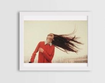 emotional portrait, portrait photography, fine art photography, canvas photo prints, wall art decor, woman portrait, wind photos, freedom