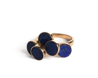 Vintage Modernist Lapis Circle Steps Ring in 14k Gold - Mid Century Modern Geometric Platforms Architectural Jewelry