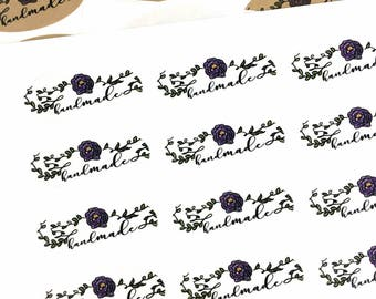 Handmade Labels / Modern Calligraphy Laurel Packaging Stickers / Handmade Floral Label / Small Business Sticker