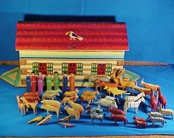 Antique German Noah's Ark, 42 Animals, 7 People, Erzgebirge Toy, c 1900