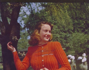 September 1948 Stitchcraft Knitting Book  - Womens Sweaters and Cardigans - Original Patterns