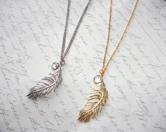 Long feather charm necklace with crystal gold or silver