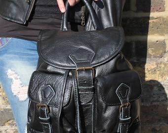 Mini Rucksack Black Leather