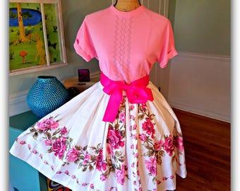 1950's Garden Party Dress / Tea Party /Pin up / Roses/ Vintage/ 2 piece set / Floral / Wedding / Full Sweep Circle Skirt / Vintage / Medium