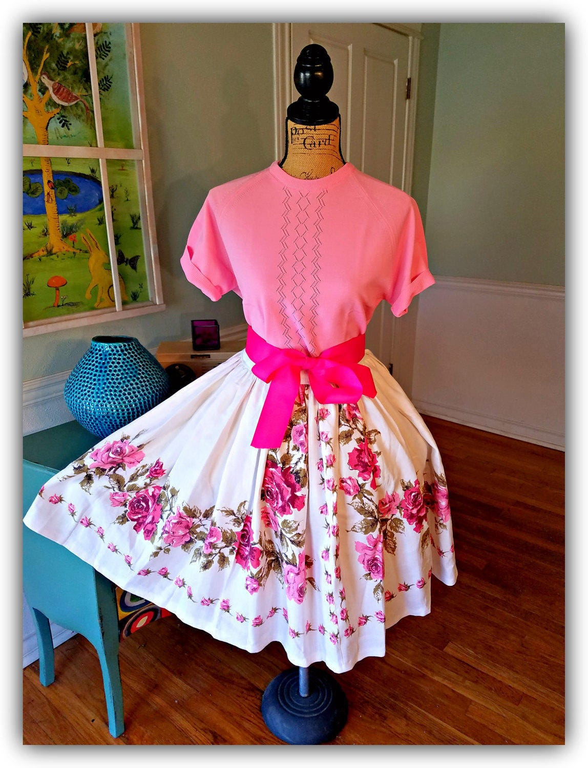 1950 39 s garden party dress tea party pin up spring. Black Bedroom Furniture Sets. Home Design Ideas