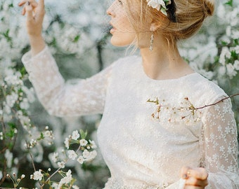 FELICIA / floral pattern lace wedding dress with long sleeves Bohemian Romantic wedding dress bridal gown with all over lace boho wedding