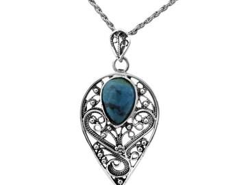 Blue Green Eilat Stone Tear Pendant Sterling Silver Filigree Drop Necklace