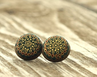 Stud Earrings, Medieval Treasure, Gold Adornment Earring Studs, Green Vintagelook Fabric Button Jewelry, Historical Earrings, Antique Posts