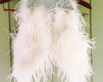 Upcycled White Feather Vest with Jeweled Collar
