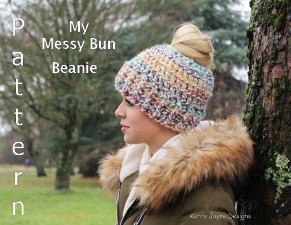 Crochet Patterns Messy Bun Beanie : ... Beanie crochet pattern, Messy bun hat crochet pattern, Bun beanie