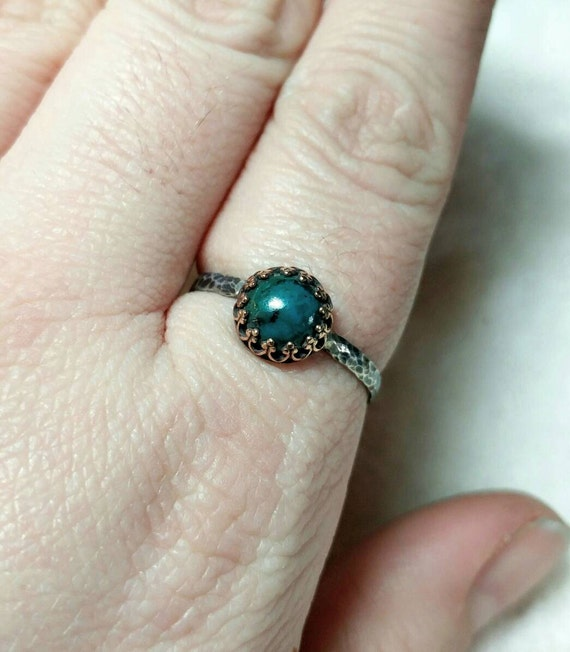 Victorian Blue Stone Ring | Mixed Metal Ring | Chrysocolla Ring | Sterling Silver Ring Sz 10.5 | Blue Green Stone Ring | Rustic Stone Ring