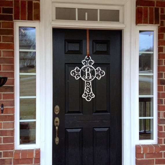 Monogram Front Door Decoration: Metal Cross Front Door Wreaths Monogram Door Hanger Initial