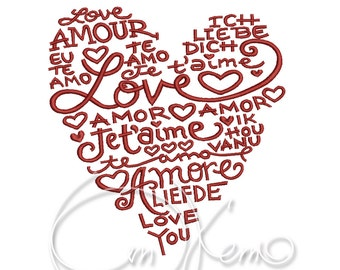 MACHINE EMBROIDERY DESIGN - Heart, Valentines heart, I love you embroidery, Valentines day, Love embroidery