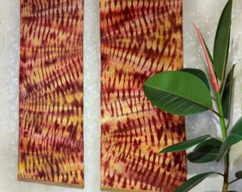 Double textile wall hanging Diptych Shibori art Hand dyed fabric Red yellow tie-dye rayon Hand-painted Home decor Handdyed Interior banner