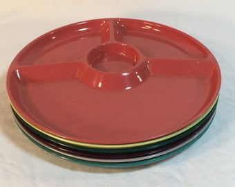 Steri-Lite Divided Plates in Festive Colors, Set of Six