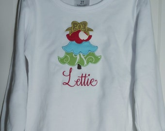 Ruffled Long Sleeve Shirt Personalized Christmas Tree Applique!