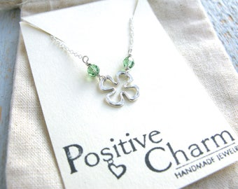 Shamrock Necklace, St. Patricks Day Necklace, Four Leaf Clover Necklace , Silver Shamrock Necklace, Lucky Necklace, Silver Shamrock Charm