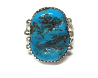 Vintage Southwestern Sterling Turquoise Ring Size 9
