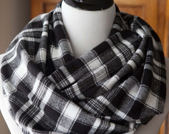 SCARF - Black and White Plaid Flannel Infinity Scarf