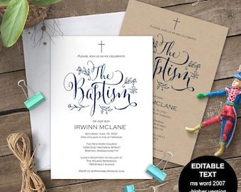 Boy Baptism invitations, Baptism invitation printable, Baptism invitation boy, template, editable text, Christening, Navy, #S11-BIBN