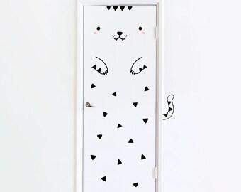 Door decal Tofu the Tiger / Wall decal for doors / Door sticker Nursery decor / Tiger Vinyl Sticker / Kids room decor / Animal decal