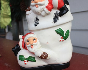 Vintage Silly Santas Climbing Holly Berry Trimmed Boot Bank Christmas Japan 1950s Figurines Decorations Collectibles