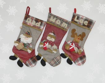 SALE! Personalised Christmas Stocking Monogrammed 3D christmas stocking Santa reindeer snowman Family stockings Children's Stocking