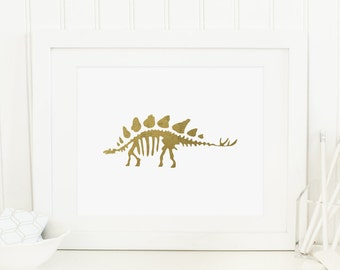 Dinosaur Printable Dinosaur Wall Art Dinosaur Decor Boy Nursery Wall Art Prehistoric Nursery Decor Gold Dinosaur Skeleton Gold Nursery Art