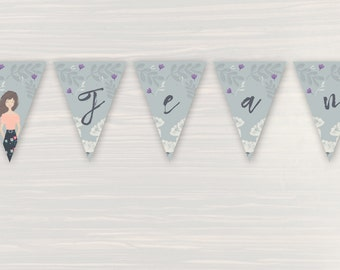 Personalized Bridal Shower Banner - Personalized Portrait - Party Bunting - 1 to 20 flags