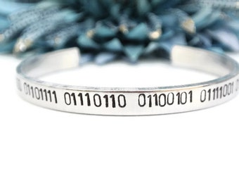 I Love You Binary Code Hand Stamped Cuff Bracelet | Girlfriend Gift | Geek Jewelry | Binary Jewelry | Computer Coding | Coding Jewelry