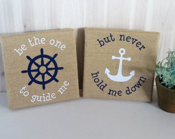 Nautical Gift Burlap Canvas Set Of 2 Be The One To Guide